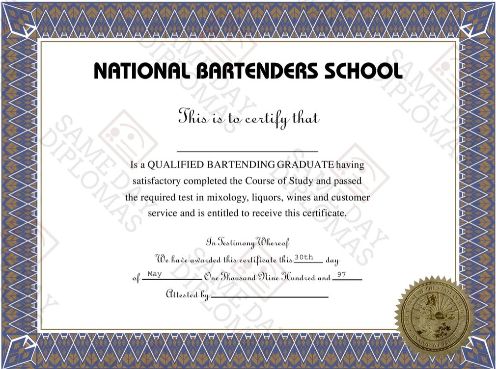bartending license